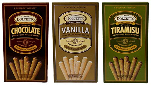 (Dolcetto Premium Cream Filled Rolled Wafers Gourmet Cookies 3 Flavor Variety Bundle, 1 each: Sweet & Creamy Vanilla, Luscious Chocolate, Rich & Creamy Tiramisu (4.4 Ounces))