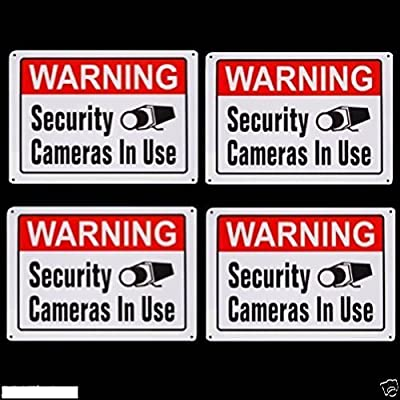 Lot of 8 METAL Security Home Surveillance Video Camera System Warning Alarm Sign