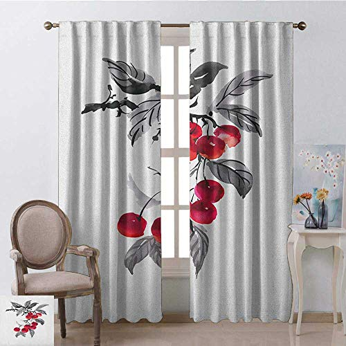 Rowan, Curtains, Branch of Rowan with Fruit in Watercolor Mountain Wild Nature Foliage Artwork, Curtains in Living Room, W72 x L108 Inch, Grey Red Black ()