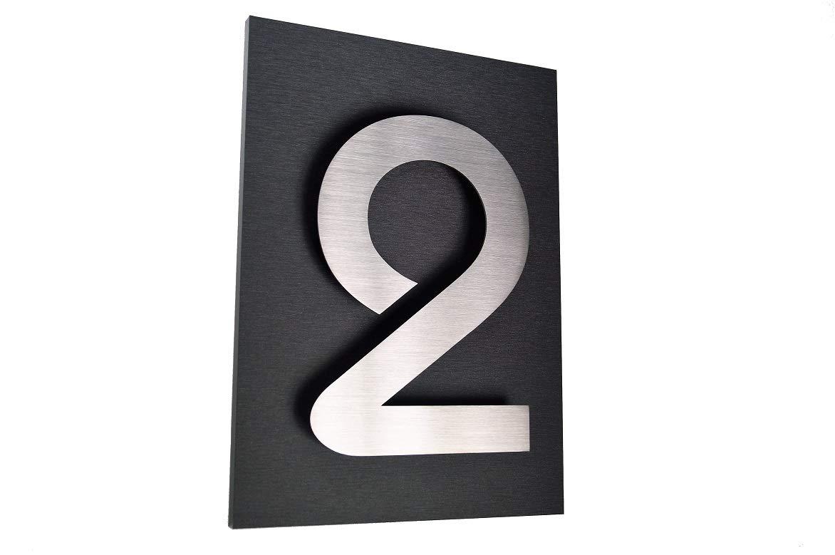 N/úmero de casa placa de acero inoxidable V2A ITC Bauhaus Design 2D placa de acr/ílico 29 cm x 21 cm diamant-antracita invisible fijaci/ón