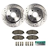 Detroit Axle - Drilled & Slotted Front Brake Rotors & Brake Pads w/Clips Hardware Kit for 2013-2016 Lexus ES300h - [07-16 ES350] - 2008-2016 Toyota Camry - [2008-2016 Toyota Avalon]