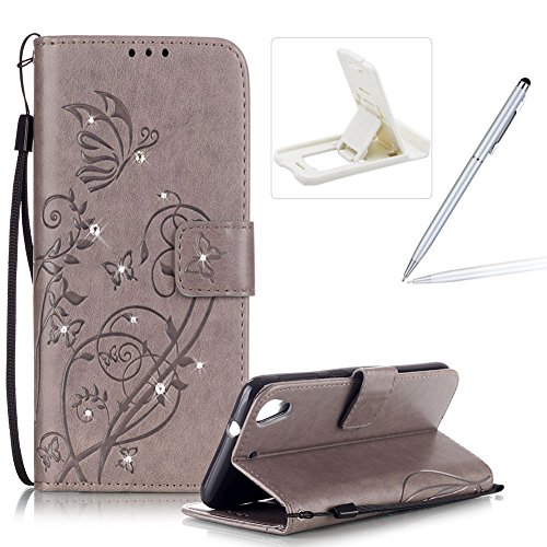 Wallet Case for HTC Desire 626,Strap Portable Leather Case For HTC Desire 626,Herzzer Stylish Bling Diamonds Gray Butterfly Embossed Pu Leather Magnetic Flip Folio Protective - 626 Us