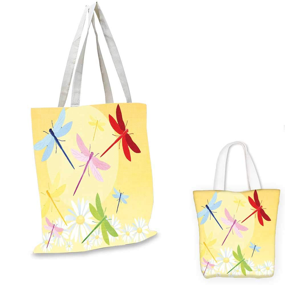 12x15-10 Dragonfly canvas messenger bag Exotic Dragonflies Flying in Cloud Sky Animal Wing Nature Illustration shopping bag for women Black Blue Light Pink