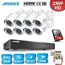 ANNKE 8 Channel 3.0Megapixel Security DVR with 1TB Hard Drive Pre-installed and (8) 1920TVL 2.0MP Weatherproof Security Cameras