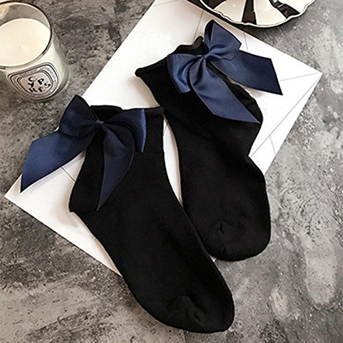 Sagton Femmes Harajuku Street Style Chaussettes Coton Cheville Longueur Chaussettes Équipage Chaussettes Avec Bowknot Noir + Marine