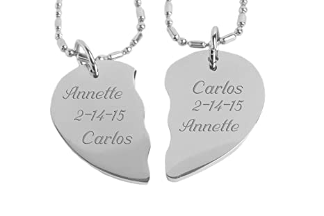 6c81789dfb Image Unavailable. Image not available for. Color: Engraved Couple's Broken  Heart Necklace Set