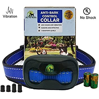 [2017 CHIP] PRO PET WORKS No Bark Dog Collar NO SHOCK Bark Control Training Collar For Small dogs And Medium/Large Dogs-Anti Bark Humane Bark Deterrent 15-150lbs 9.6in-27.2in