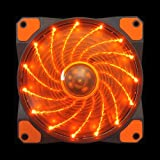 Apevia CF12SL-SOG 120mm Orange LED Ultra Silent Case Fan w/ 15 LEDs & Anti-Vibration Rubber Pads