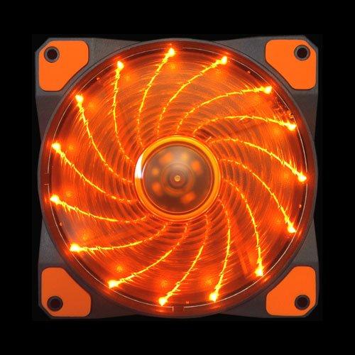 Apevia CF12SL-SOG 120mm Orange LED Ultra Silent Case Fan w/ 15 LEDs & Anti-Vibration Rubber Pads