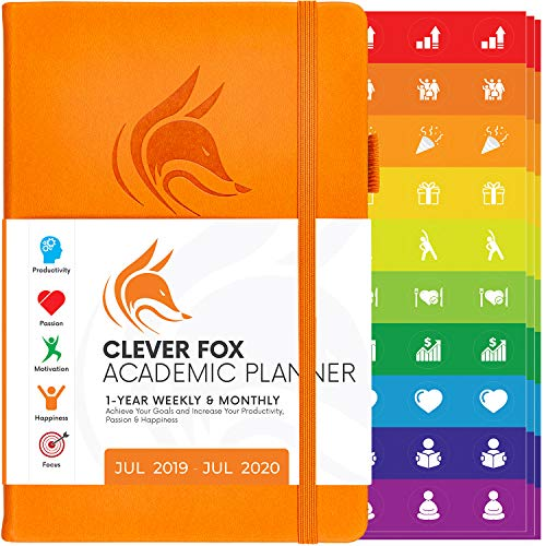 Clever Fox 2019-2020 Academic Weekly & Monthly Planner to Increase Productivity, Time Management and Hit Your Goals - Organizer, Gratitude Journal - A5, Lasts 1 Year, Orange (Weekly)