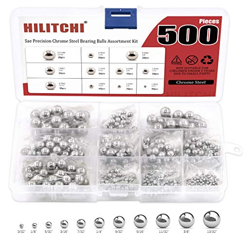 """Hilitchi 500 Pcs 11 Size SAE Precision Bearing Steel Ball Assortment Loose Bicycle Bearing Balls 3/32"""" 1/8"""" 5/32"""" 3/16"""" 7/32"""" 1/4"""" 9/32"""" 5/16"""" 11/32"""" 3/8"""" and 13/32"""" with Storage Box"""