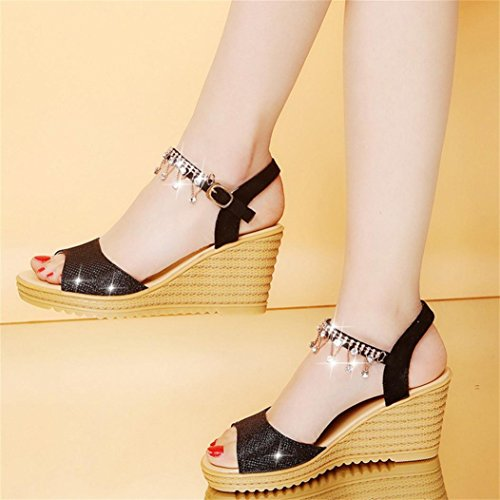 Sandales Wedges Femmes Inkach - Sandales Dété De La Mode Chunky Hauts Talons Pantoufles - Strass Cheville Boucle Chaussures Wrap Noir