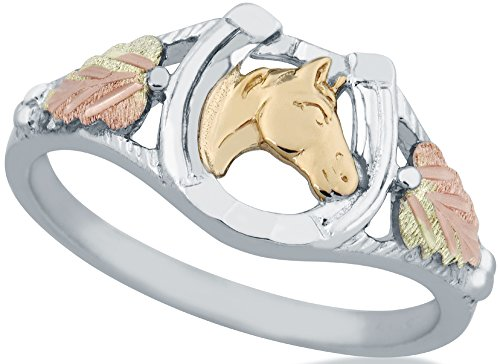 Beautifully Crafted Diamond-cut Sterling-silver Yellow-gold Black Hills Gold Women's Horseshoe Ring Size 6