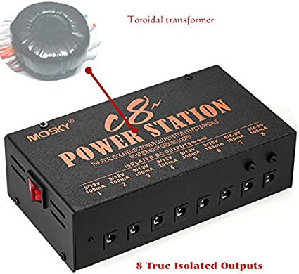 Mosky Isolate Pedal Power Supply Internal transformer Isolated Outputs 9,12,18V
