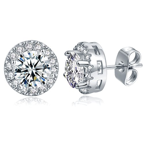 MDFUN White Gold Plated Round Cubic Zirconia Stud Earring For Women