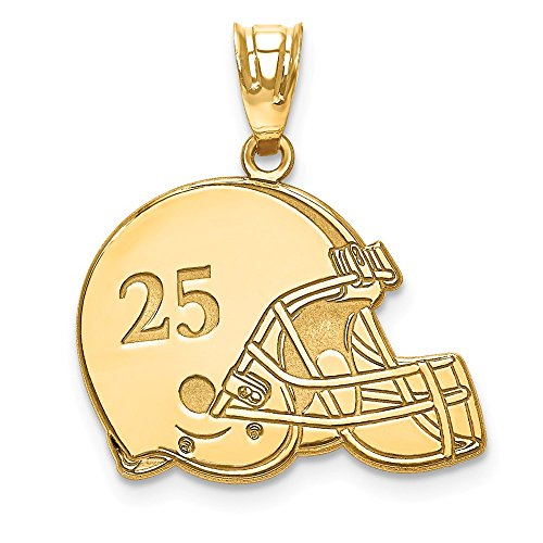 (Roy Rose Jewelry Gold Plated Sterling Silver Laser Football Helmet Number and Name Pendant)