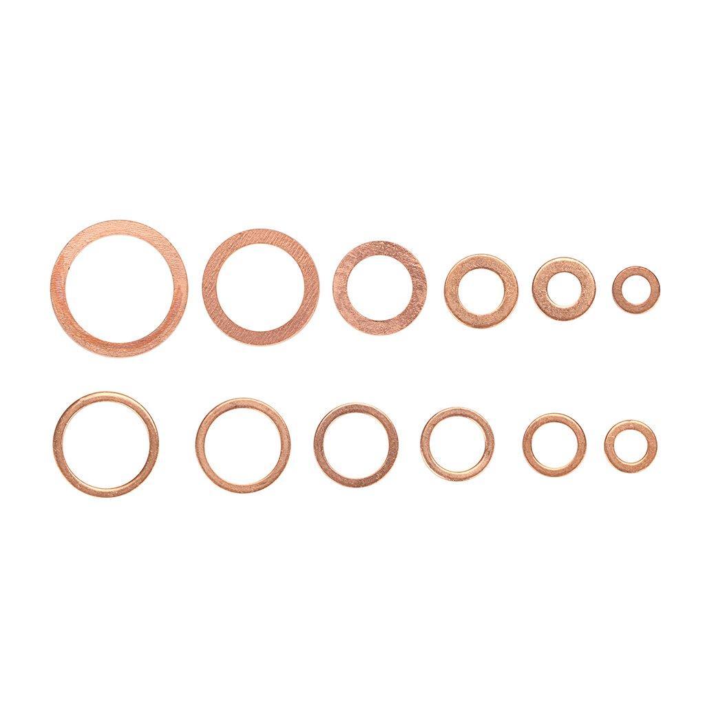 Sumnacon Copper Flat Washers 12 Sizes Size Includes M5 M6 M8 M10 M12 M14 M16 M20 Metric Lock Sealing Washers Assortment Set
