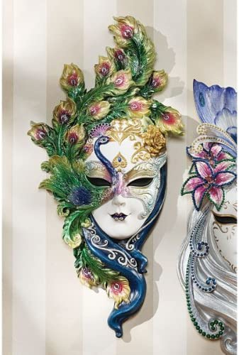 Design Toscano WU74139 Peacock Feather Masks of Venice Wall Sculpture