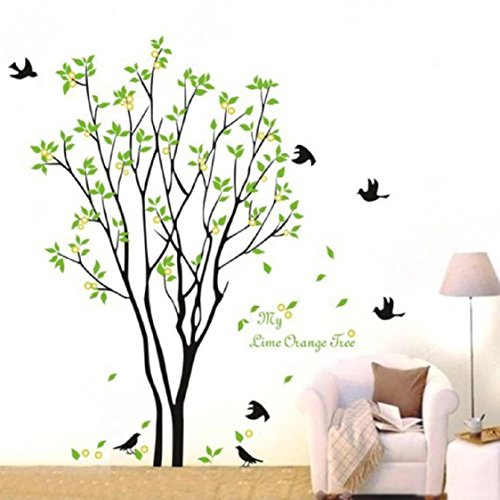 (3D Wall Stickers, Ikevan 3D Wall Stickers Green Branch Birds PVC Decal Home Bedroom Living Room TV Setting Wall Sticker Romance Home Decoration)