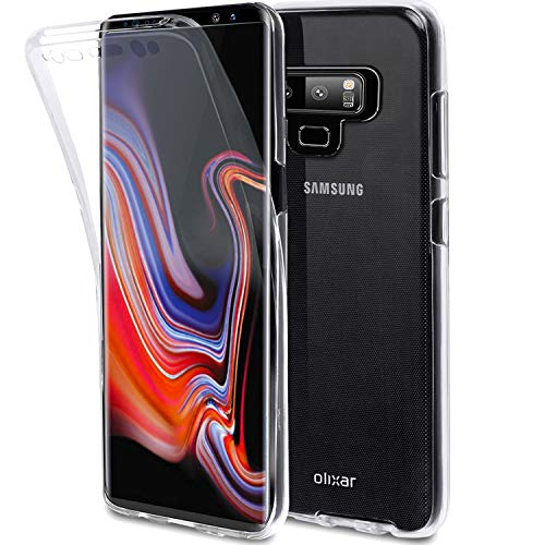 Olixar Samsung Galaxy Note 9 Full Cover Case - 360 Degree Full Body Cover - Front + Back Protection - Clear Slim Design FlexiCover - Clear