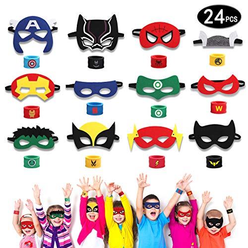 HXDZFX 24PCS Superhero Party Masks & Superhero Slap Bracelet for Kids Baby - The Avengers Super Heroes Birthday Party Supplies Favors Children/Kids/Adults