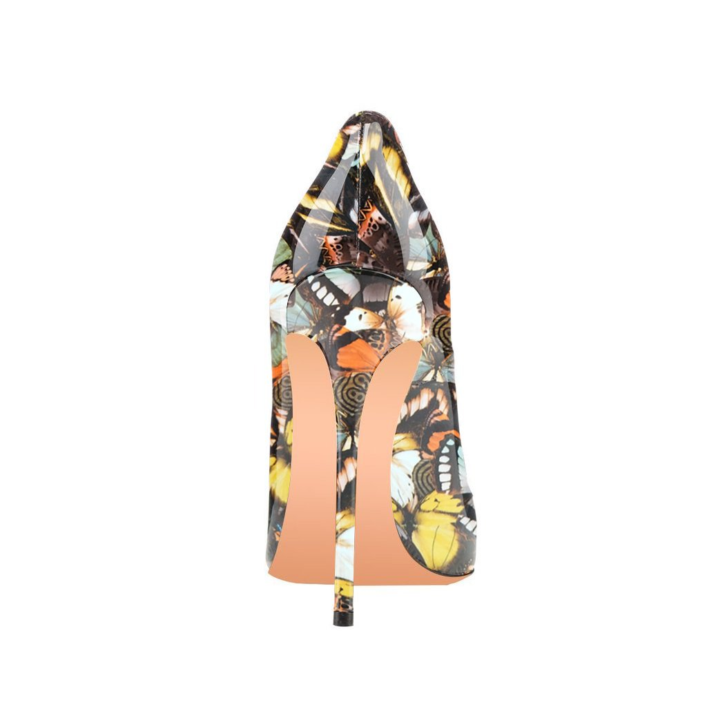 FSJ Women Fashion High Heel Stilettos Pointed Toe Pumps Evening Dress Printed Shoes Size 4-15 US B07DR81JF3 9.5 B(M) US|Butterfly