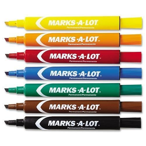 Lot EverBold Flipchart Markers - Chisel Marker Point Style - Black, Blue, Orange, Green, Purple, Yellow, Red, Brown Ink - 12 / Set (Marker Chisel Point Brown Ink)