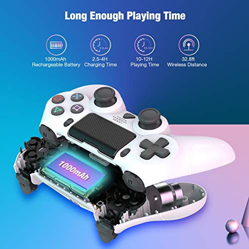 Wireless Controller for Playstation 4, Y-Team Game Controller for PS4 1000mAh Gamepad Remote with Dual Motor, Gyro, 3.5mm Audio Jack, Speaker, LED, USB for PS4/Pro/Slim/PC/Laptop (White)