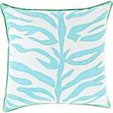 22'' Teal Blue and Lace White with Green Trim Decorative Throw Pillow
