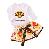 Newborn Thanksgiving Day Sets,Jchen(TM) 2PCS Infant Toddler Baby Girls Turkey Thanksgiving Day Tops Bow Skirt Outfits Sets for 0-24 Months (Age: 18-24 Months)