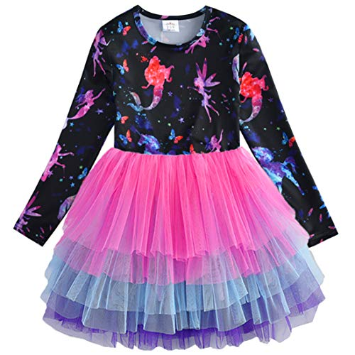 Little Girls Fairy Dresses (VIKITA Toddler Girl Starry Fairy Purple Tutu Winter Long Sleeve Party Dresses for Girls(LH4593, 8)