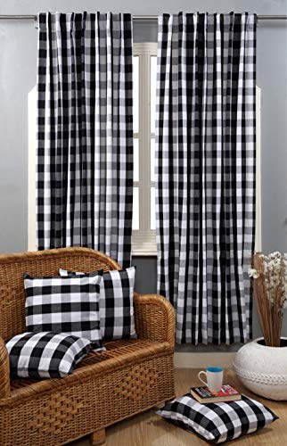 Check Tab Top Curtains, Farmhouse Cotton Curtains, Curtain 2 Panel Set, Gingham Plaid Cotton 50x108 Black&White Curtains, Reverse Window Panels, Curtain Drapes Panels, Bedroom Curtains, Set of 2 (Curtains Plaid)
