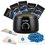 Wax Warmer, Easkep Hair Removal Waxing Kit 6 Adjustable Temperature with 5 Packs Hard Wax Beans, 5pcs nose hair sticks and 20 pcs Wooden Applicator Sticks Painless for Whole Body Use Women and Men