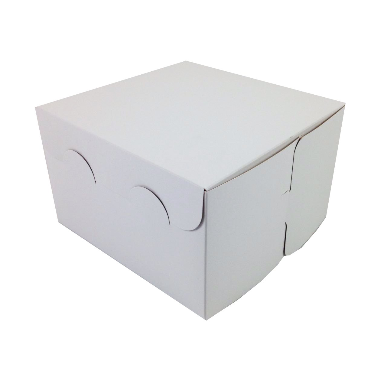 Black Cat Avenue 8'' x 8'' x 5'' White Paperboard Non-Window Cookie Pastries Cake Boxes Bakery Boxes, 5 Count
