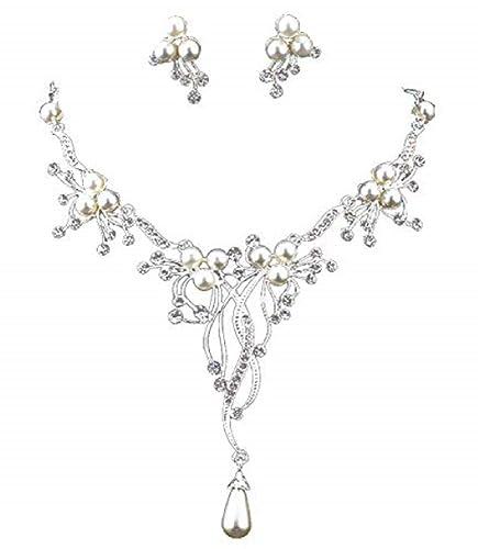 Damen Schmuck Set Blumen Halskette Ohrstecker Strass Perlen Kristall Hochzeit