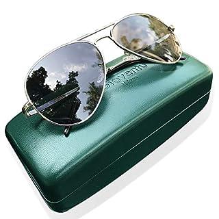 Gioventù Classic Aviator Premium Military Style Sunglasses,Lightweight UV400 Protection Sunglasses for Men & Women, Grey, Medium