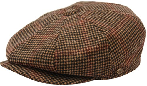 Men's Classic 8 Panel Wool Blend Newsboy Snap Brim Collection Hat (Large, 2745-Brown)