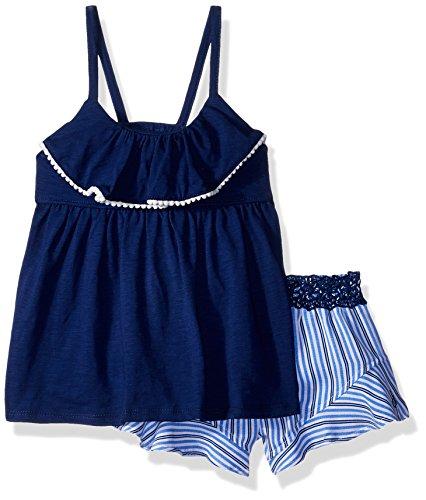 Calvin Klein Big Girls' Flounce Shorts Set, Navy/Stripes, 8/10 by Calvin Klein (Image #1)