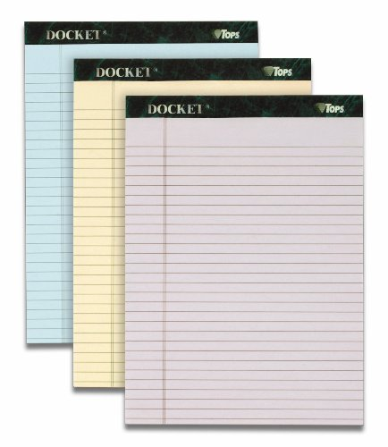 TOPS Docket 100% Recycled Writing Tablet, 8-1/2 x 11-3/4 Inches, Perforated, Assorted Colors: Orchid, Ivory, Blue, Legal/Wide Rule, 50 Sheets per Pad, 3 Pads per Pack (99627)