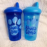 Blues Clues Child Spill Proof Sippy Cup, Toddler Kids 9 oz Water Juice Bottle Paw Print, Blue Color Personalized First Name
