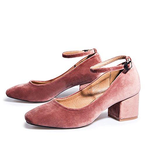 Tête Chaussures Rugueux Printemps De De Daim Carrée A Talon D'automne Et En Lady Chaussures wx87YY