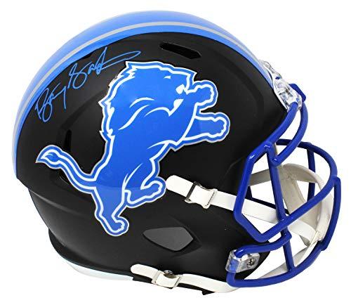 Barry Sanders Signed Detroit Lions Flat Black Matte Riddell Speed Full Size Replica Helmet Barry Sanders Signed Lions Replica