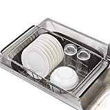 GeLive Over Sink Dish Rack, Adjustable Arms Utensil Drainer Holder, Functional Kitchen Drying Organizer Basket for Vegetable and Fruit, Stainless steel