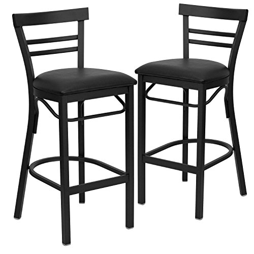 Flash Furniture 2 Pk. HERCULES Series Black Ladder Back Metal Restaurant Barstool - Black Vinyl - Flash Ladder Furniture Black
