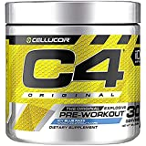 Cellucor C4 Original Pre Workout Powder Energy Drink Supplement For Men & Women with Creatine, Caffeine, Nitric Oxide Booster, Citrulline & Beta Alanine, Blue Raspberry, 30 Servings