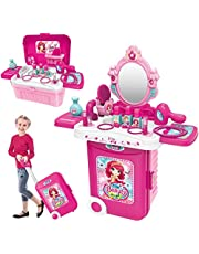 Pretend Role Play Vanity Dressing Play Set 3 in 1 Girls Makeup Toy Hair Dryer Jewellry Accessories Mirror with Light in Portable Suitcase Gift for Girls Kids
