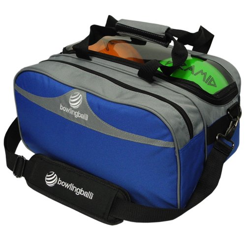 bowlingball.com Double Tote Plus Clear Top Silver/Royal Blue