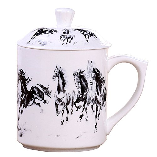 Jade Chinese Cup (ufengke Dehua Ceramic White Jade Porcelain Tea Cup, Chinese Gift Cups with Lid, for Home Office Use, Horses)