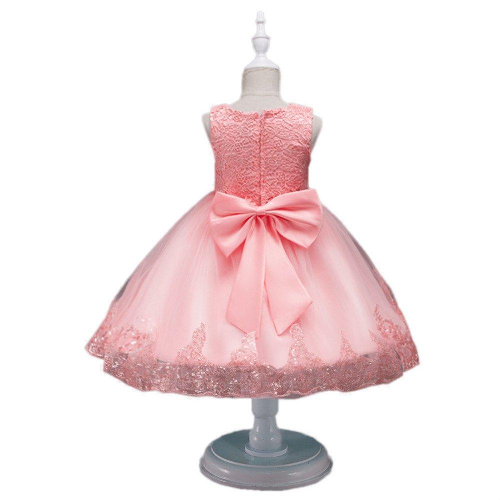 Ocama - Vestido sin mangas 100cm para Rosado niña con lazo, Vestido ...