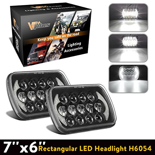 Gmc S15 Pickup Truck Headlight - Partsam 5x7 LED Headlights 7x6 Sealed Beam Angel Eyes DRL Hi/Lo H6054 Compatible with Jeep Wrangler YJ Cherokee XJ, Toyota 4Runner Tacoma, Chevy Blazer Express Van (2PCS)